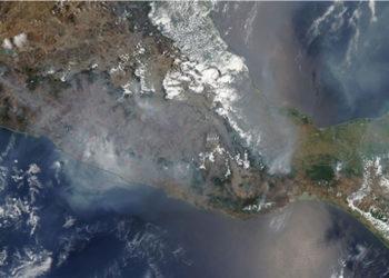 Los incendios que se vienen presentando en México pueden ser observados desde el espacio. Foto: Nasa.