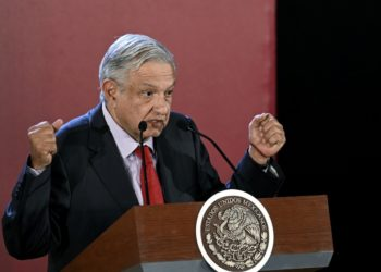 "Mexican President Andres Manuel Lopez Obrador speaks during the opening of the workshop ""Constitutional Standards for the Performance of the National Guard"" in Mexico City on June 17, 2019. (Photo by ALFREDO ESTRELLA / AFP)"