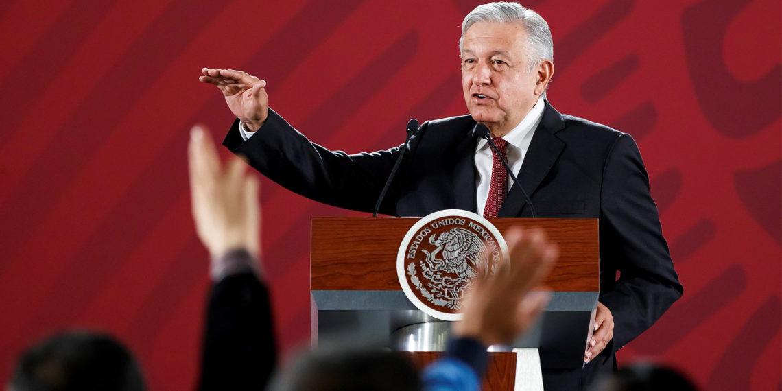 CIUDAD DE MÉXICO (MÉXICO), 03/06/2019.- El presidente de México, Andrés Manuel López Obrador, habla durante su conferencia de prensa matutina este lunes, en el Palacio Nacional.  EFE/ José Méndez
