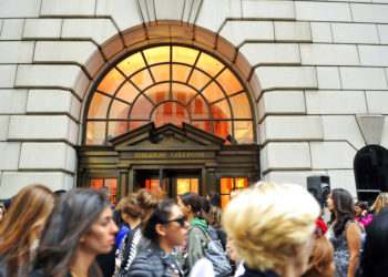 "FILE - This Sept 10, 2010, file photo shows people lining up to enter the Bergdorf Goodman store, in New York. E. Jean Carroll, a New York-based advice columnist claims Donald Trump sexually assaulted her in a dressing room at a Manhattan department store in the mid-1990s. The first-person account was published Friday, June 21, in New York magazine. Trump denied the allegations and said ""I've never met this person in my life."" (AP Photo/Stephen Chernin, File)"