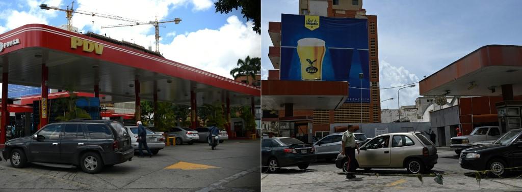 Colas para llenar combustible en Caracas (i) y MAracaibo (d). Federico Parra/ Yuri Cortez para AFP