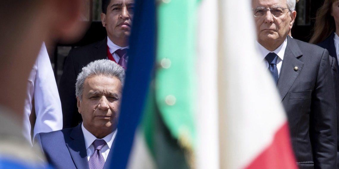 Presidente de Ecuador e Italia, tras reunirse en Roma. Crédito: QUIRINAL PRESS OFFICE HANDOUT | EFE