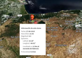 Sismo de 4,3 sacude el centro de Venezuela