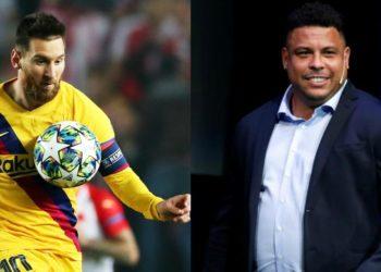 Ronaldo Nazario y Lionel Messi. Foto: EFE