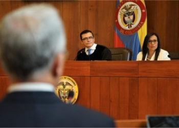 El expresidente Álvaro Uribe en la Corte Suprema de Justicia. Foto:Corte Suprema de Justicia