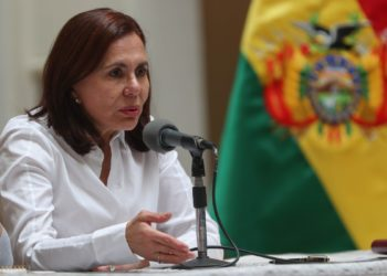 La Ministra de Relaciones Exteriores de Bolivia, Karen Longaric. Foto: EFE/ Martín Alipaz