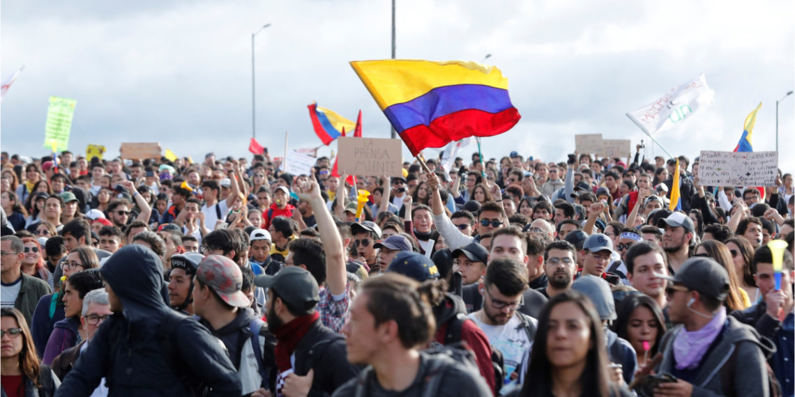 Las manifestaciones del paro nacional se realizaron pacíficamente. Foto: EFE