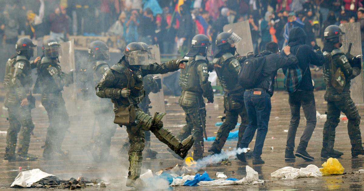 Protestas en la Plaza de Bolívar en Bogotá