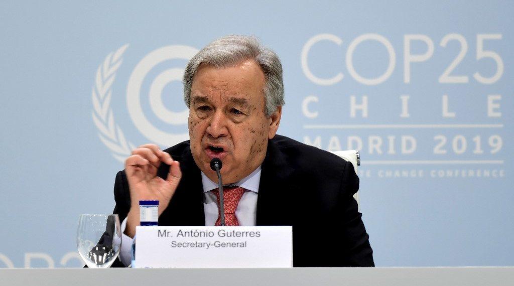 El secretario General de la ONU, Antonio Guterres, durante la COP25 en Madrid. Foto: AFP