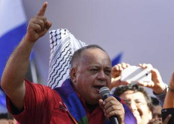 The president of the National Constituent Assembly (ANC) Diosdado Cabello delivers a speech during a march against the Inter-American Treaty of Reciprocal Assistance (TIAR) in Caracas, on December 3, 2019. - The United States last September invoked the Inter-American Treaty of Reciprocal Assistance (TIAR), a mutual defense pact, as it denounced 'bellicose' moves by Venezuela. (Photo by Yuri CORTEZ / AFP)