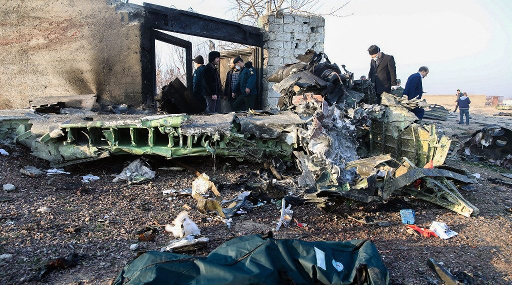 Avión ucraniano accidentado en Teherán (Irán). Foto: AFP