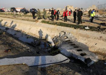 Avión ucraniano derribado en Teherán (Irán). Foto: AFP