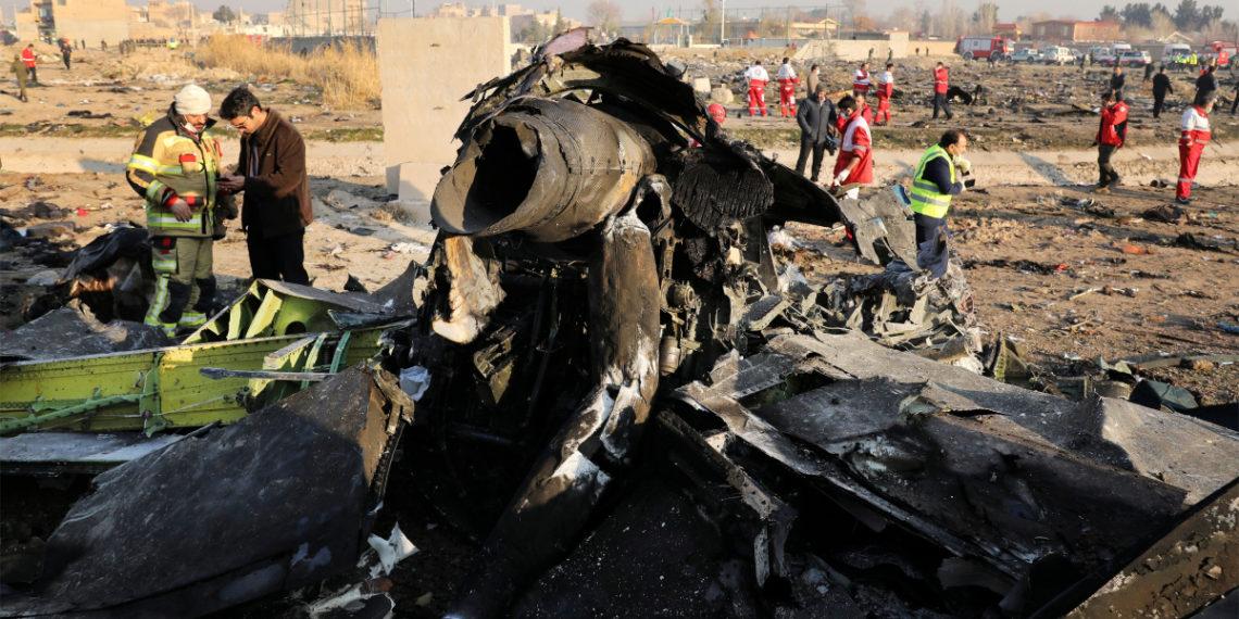 Avión ucraniano derribado cerca de Teherán. Foto: AP