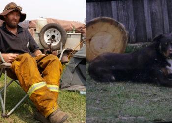 El bombero voluntario Ash Graham junto a la carpa que instaló en la la estación de bomberos de Nerrigundah, Australia. Foto: AP