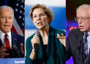 Los candidatos demócratas Joe Biden, Elizabeth Warren y Bernie Sanders. Foto: AP