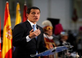 El presidente interino Juan Guaidó en su visita en España. América Digital.AFP