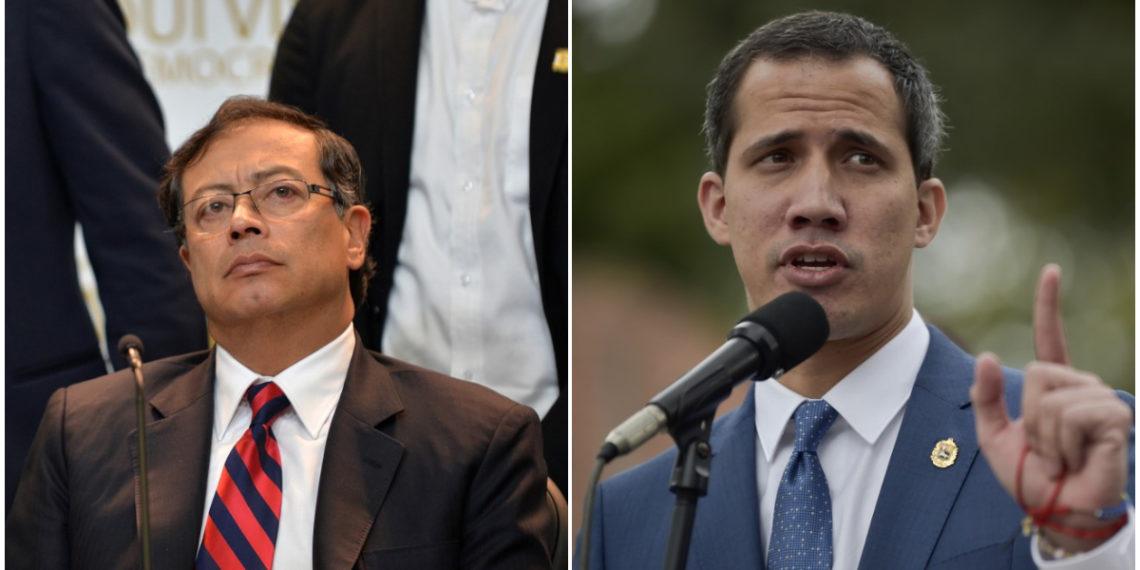 Senador colombiano Gustavo Petro  Presidente interino de Venezuela, Juan Guaidó. AFP