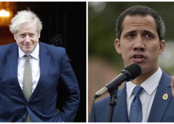 Boris Johnson, primer ministro británico y Juan Guaidó, presidente interino de Venezuela. AFP
