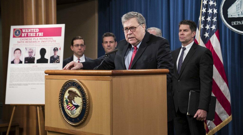 El secretario de Justicia de EE.UU., William Barr. Foto: AFP