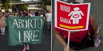Imágenes sobre personas que están a favor y en contra del aborto en Colombia. América Digital. AFP