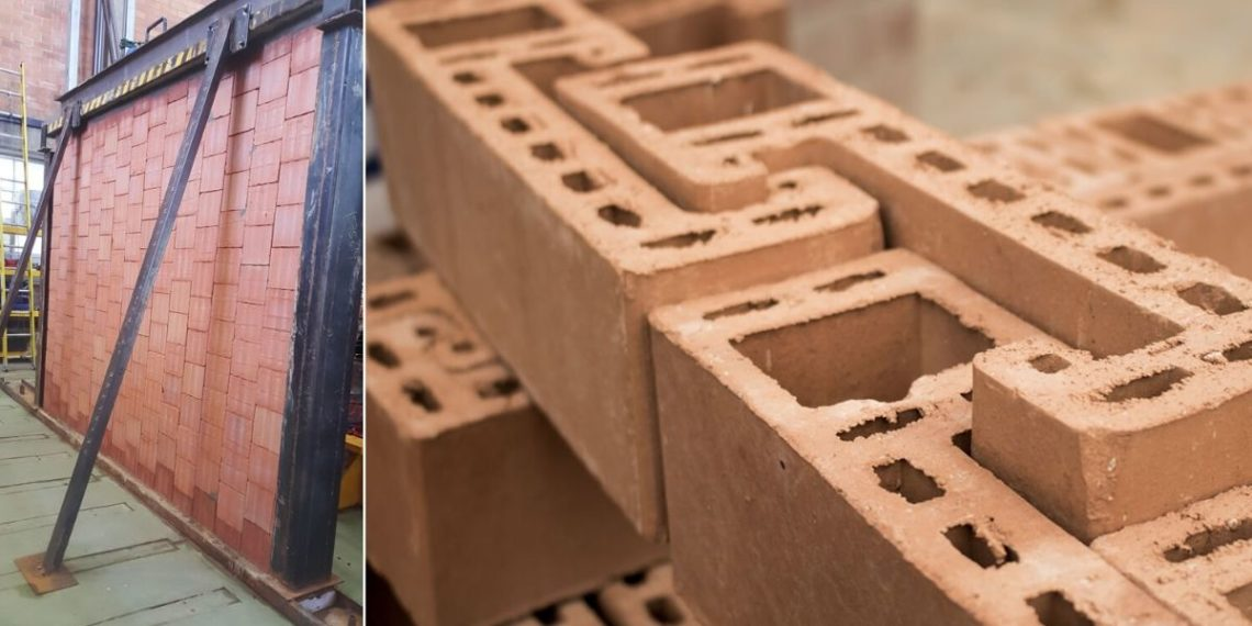 Ladrillos que se entrelazan entre sí creados en Medellín, Colombia. Foto: Universidad Eafit