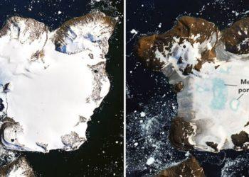Las altas temperaturas de la Antártida provocó el derretimiento de un 20 % de la nieve en Eagle Island. Foto: NASA