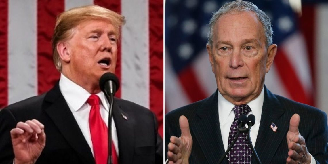 El presidente de EE.UU. Donald Trump y el candidato presidencial demócrata Michael Bloomberg. Foto: EFE / AP