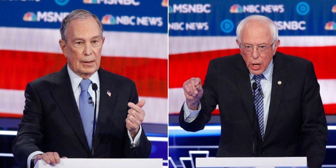 Mike Bloomberg y Bernie Sanders, candidatos demócratas a la presidencia de Estados Unidos. Foto: AP