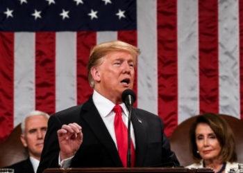 El presidente de EE.UU. Donald Trump hace su discurso del Estado de la Unión ante el Congreso. Foto: AFP