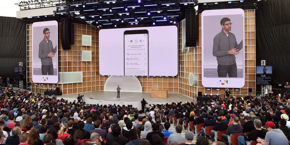 El Director Ejecutivo de Google, Sundar Pichai habla durante Google I/O 2019