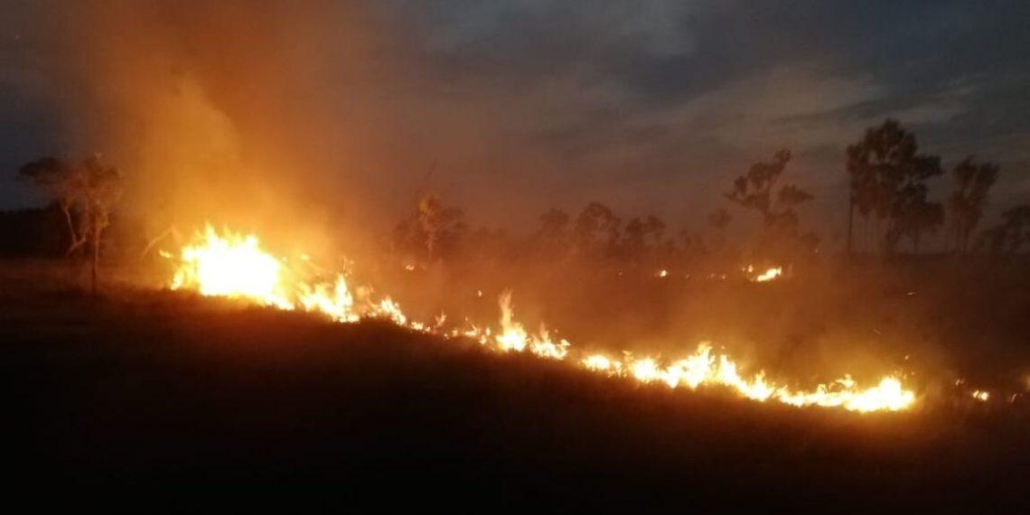 Un incendio forestal en el parque nacional natural El Tuparro Colombia. Foto: @ParquesColombia
