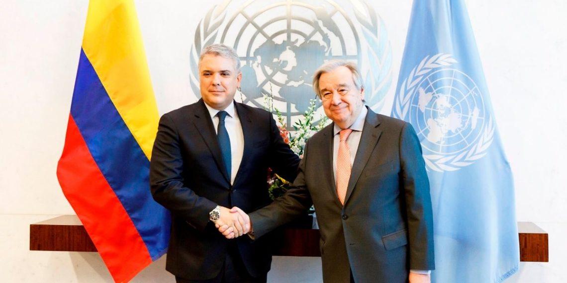 El presidente de Colombia, Iván Duque, y el secretario general de la ONU, Antonio Guterres. Foto: EFE