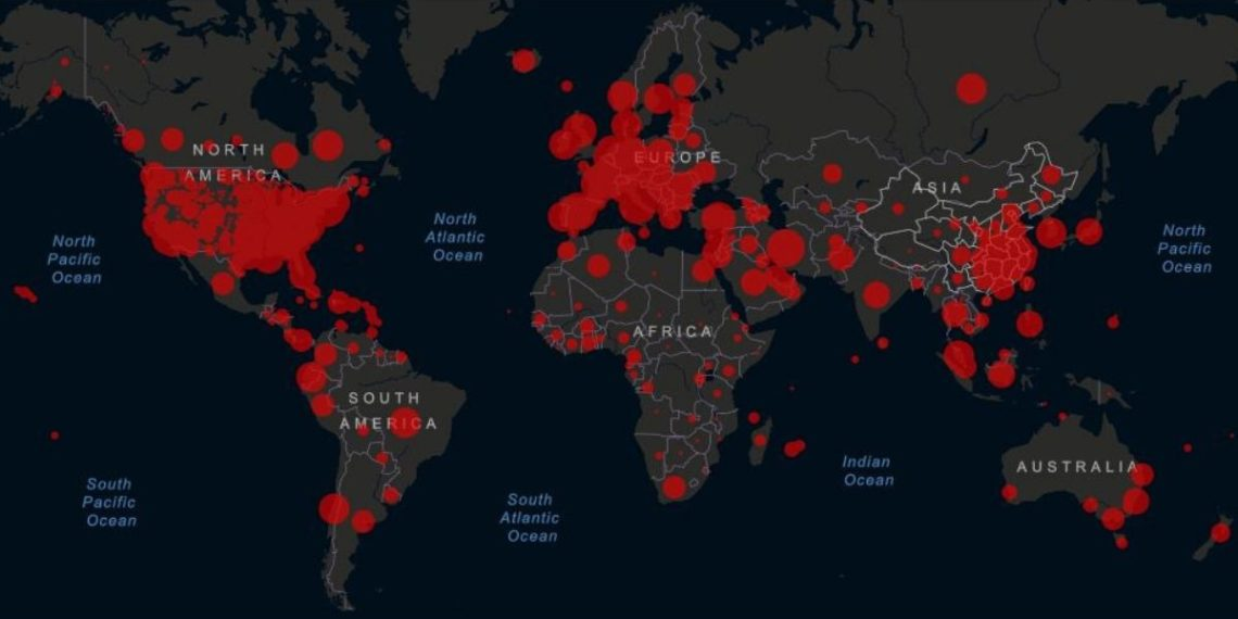 El planeta superó más de 1 millón de casos del coronavirus COVID-19. Foto: Universidad Johns Hopkins / Esri-FAO- NOAA