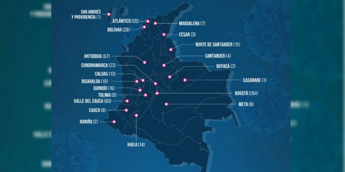 Mapa de coronavirus en Colombia