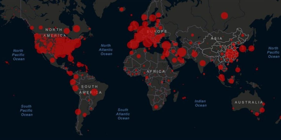 Mapa casos de coronavirus en el mundo