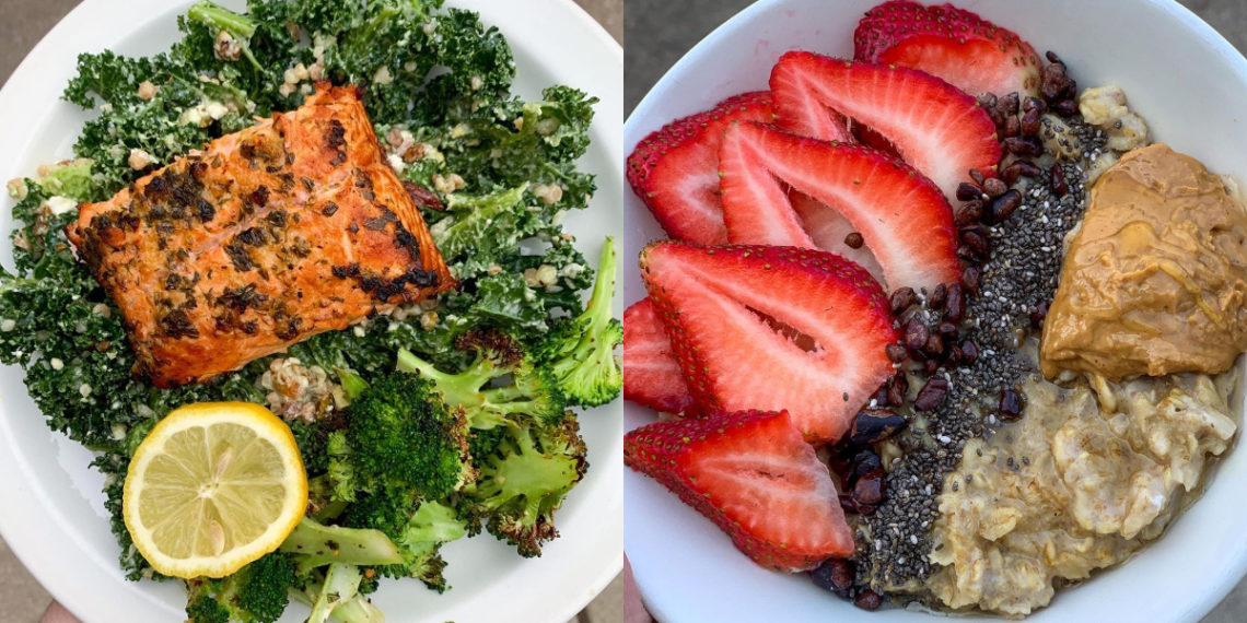 Recetas de cocina para probar: avena con frutas y ensalada / Créditos IG: @carlieeeeats