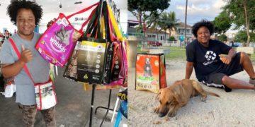 Estudiante crea bolsas supra-recicladas y con las ganancias ayuda perritos de la calle. Instagram: @projetosustentacao
