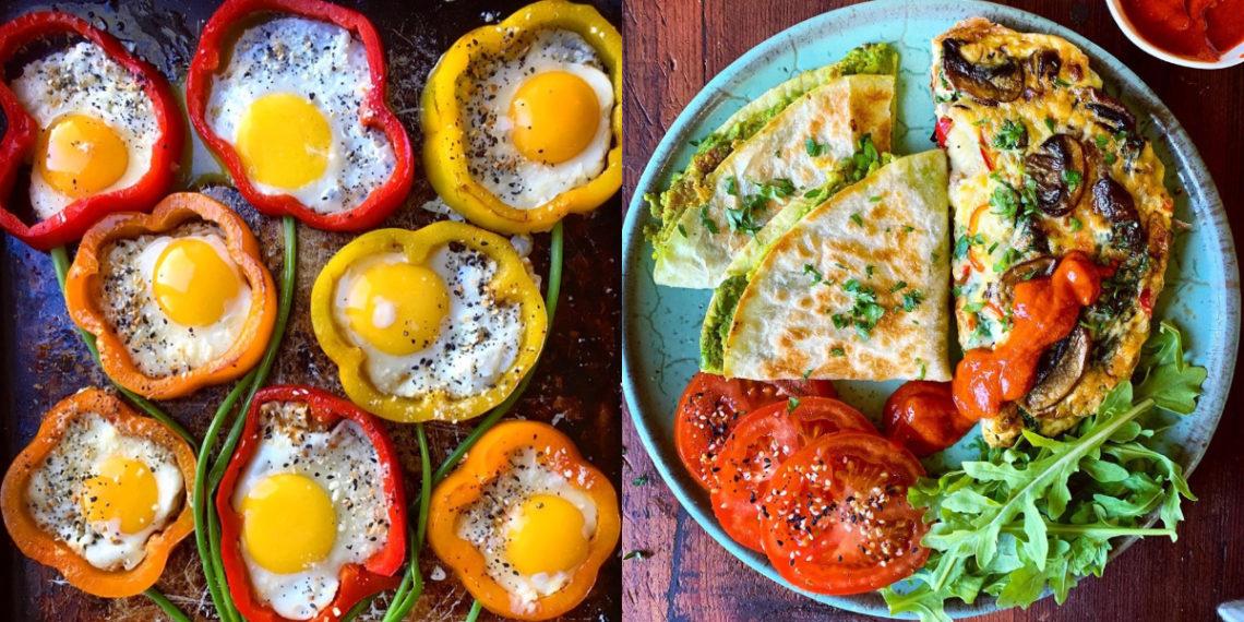 Desayunos nutritivos con huevo: tortillas, quiches y vegetales rellenos