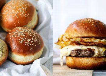 Pan de hamburguesa relleno de carne, huevo, tocino y queso