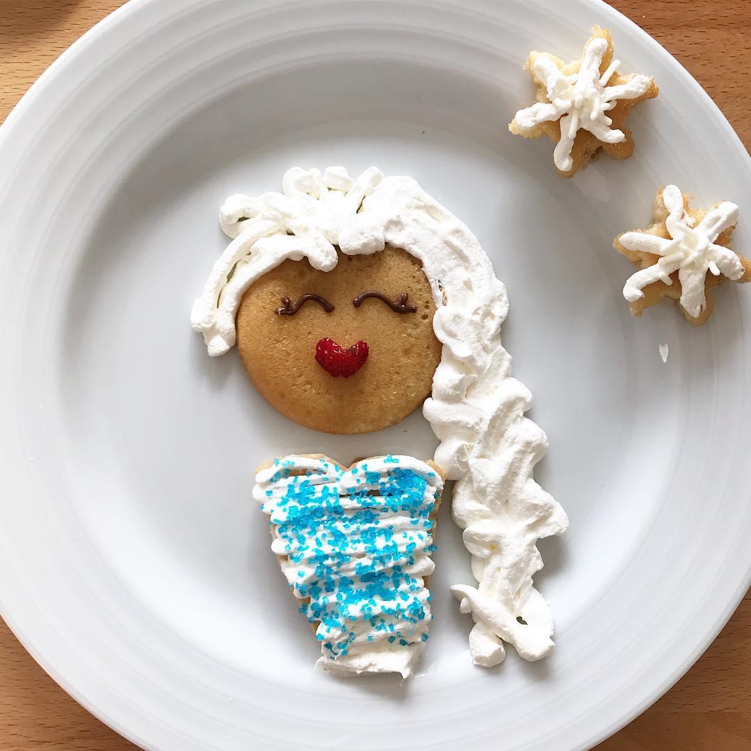 Comidas saludables: Panqueque con forma de Elsa
