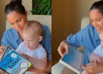 Meghan Markle lee un libro junto a Arvhie