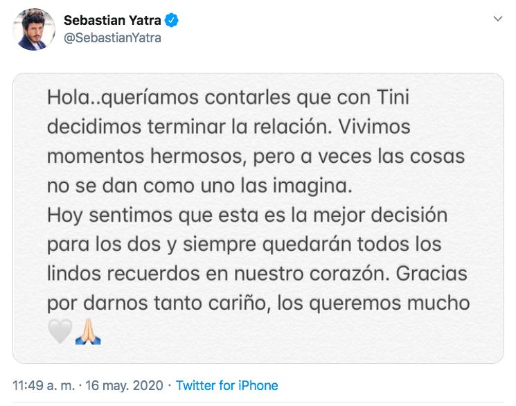 Sebastián Yatra sobre rompimiento con tini
