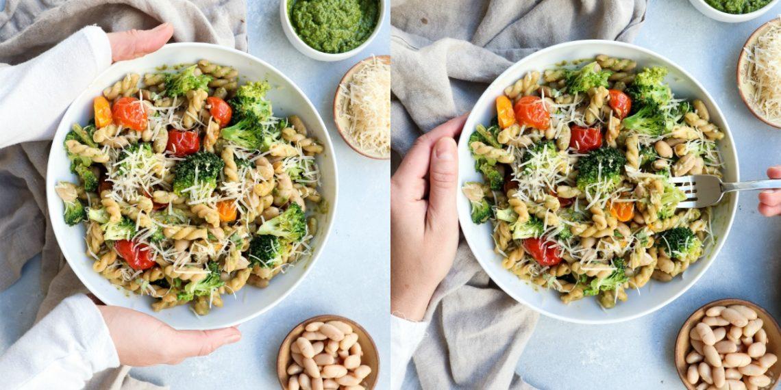 Pasta al pesto con vegetales