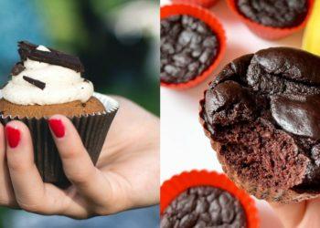 Cupcakes de chocolate y banana