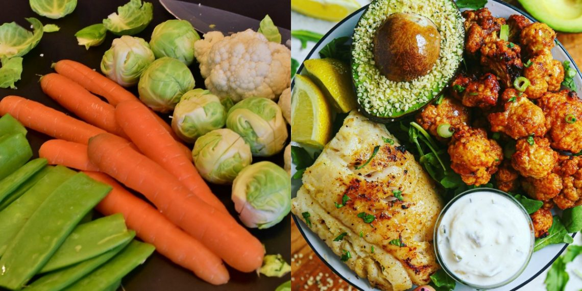 Bacalao o pescado al horno con coliflor en salsa