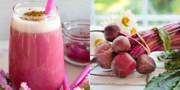 Pink latte o batido de remolacha en polvo
