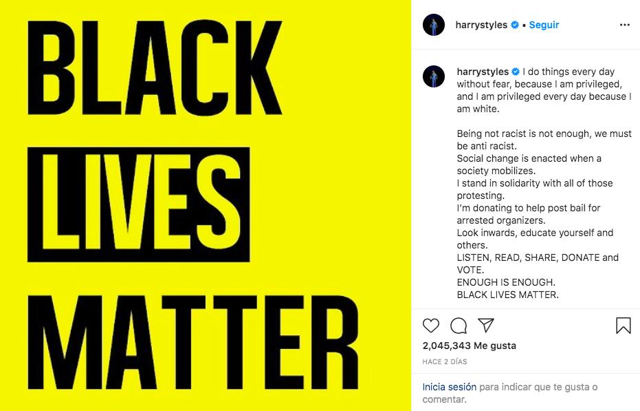 Harry Styles mensaje de racismo