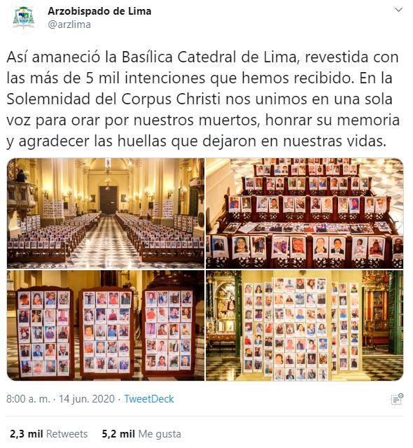 Homenaje a las víctimas del coronavirus en la capital peruana