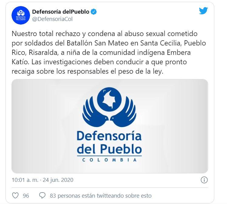 Tuit de la Defensoría del Pueblo sobre el abuso a la menor en Risaralda.