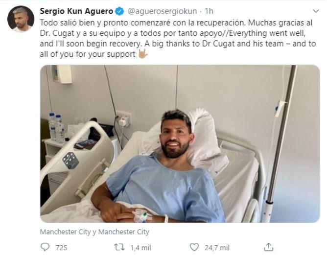 Agüero anuncia que la operación de rodilla ha ido bien